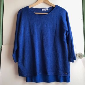 CALVIN KLEIN Royal Blue Layered 3/4 Sleeve Sweater